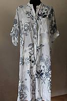 Платье-рубашка цветы удлиненное, фото 1