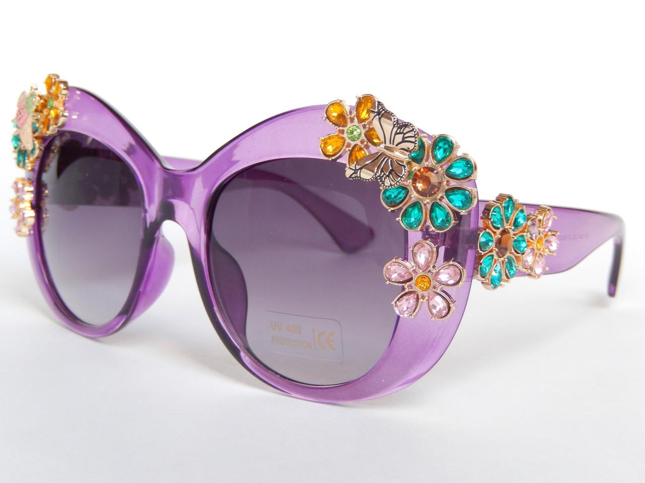 Очки с цветами из кристаллов в стиле D&G (коллекция ENCHANTED BEAUTIES) violet