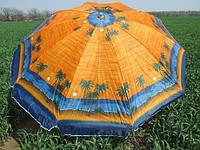 Зонт диаметром 2,2 м. Пластиковые спицы с клапаном. Цвет: Пальмы, фон Оранжевый