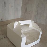 Коробка для кексов 4 шт фигурная с окном