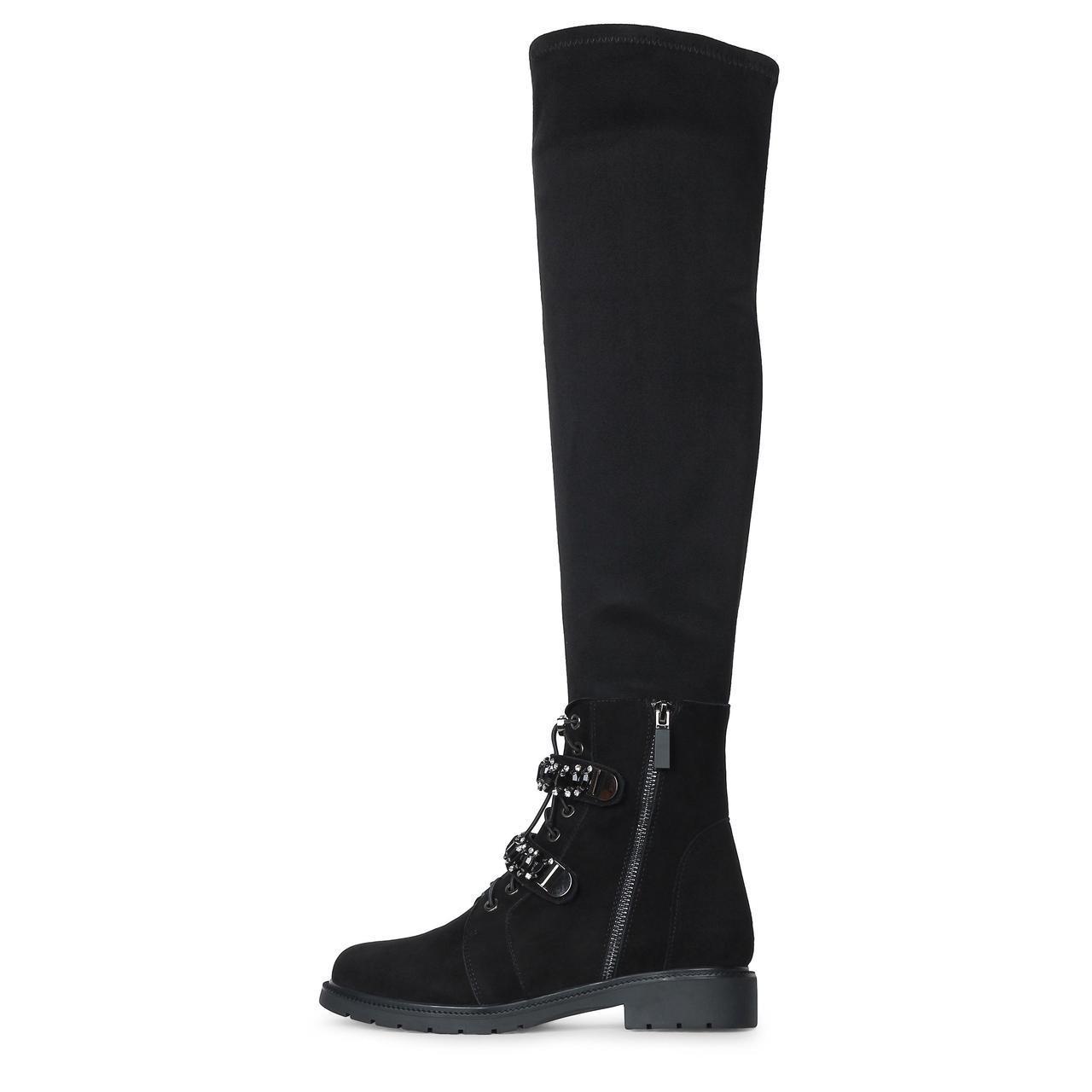 Зимние замшевые черные ботфорты чулки на низком каблуке A- MODA скидка