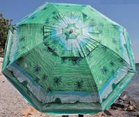 Зонт диаметром 2,2 м. Пластиковые спицы с клапаном. Пальмы, фон Зелёный