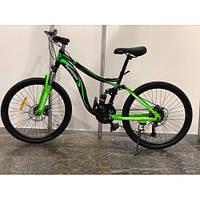 """Спортивный велосипед двухподвес TopRider-910 26 дюймов. 16"""" рама. Дисковые тормоза. Салатовый."""