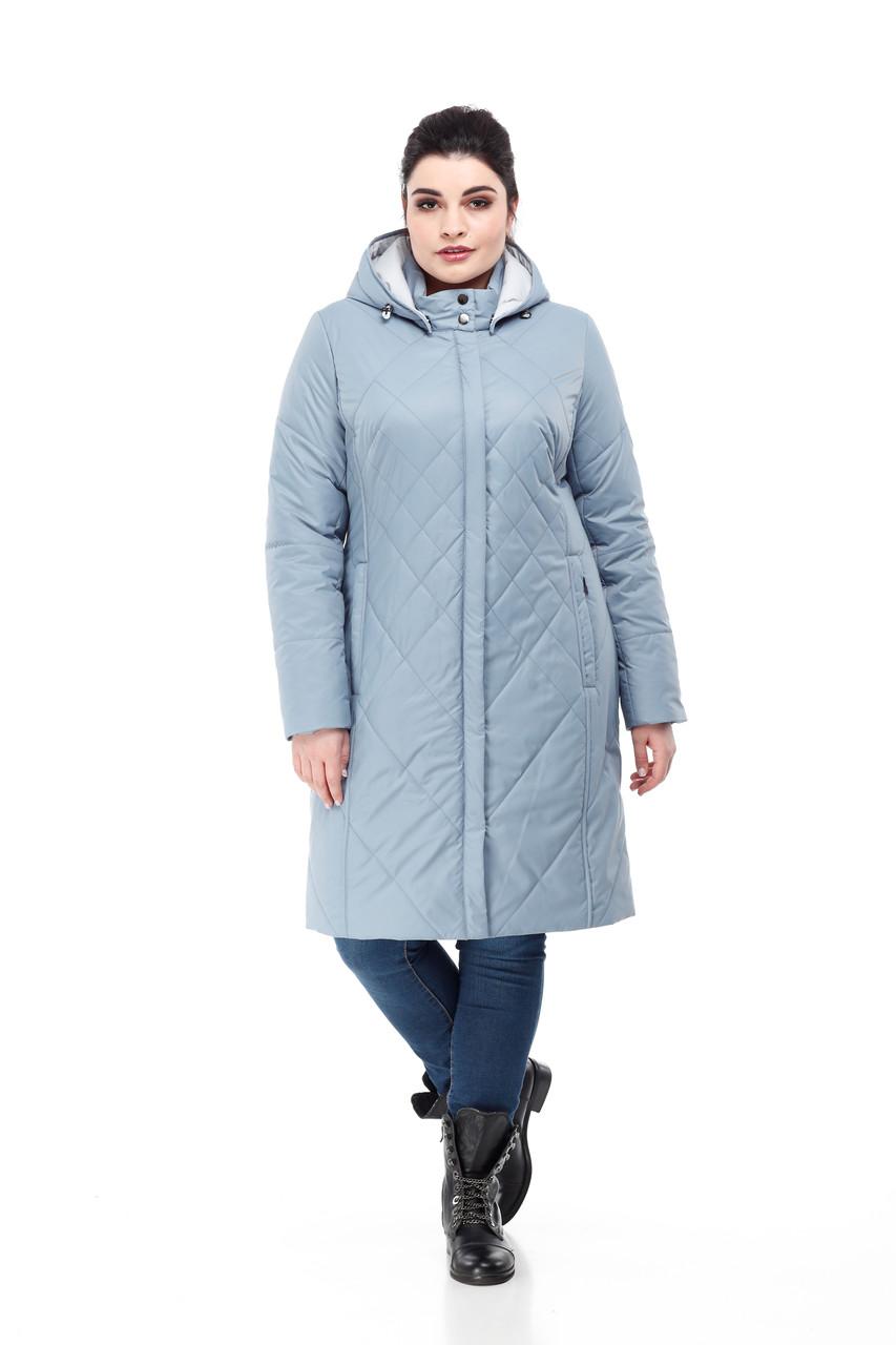 Модная удлиненная демисезонная куртка  размеры 48-60