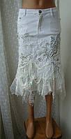 Юбка женская джинсовая нарядная стильная декор бренд р.42 от Chek-Anka, фото 1