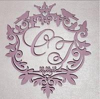 Свадебный герб, инициалы, монограмма, семейный герб из дерева