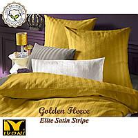 """Простынь на резинке 140х200 Коллекции """"Elite Satin Stripe 8х8 mm Golden Fleece"""". Страйп-Сатин (Турция). Хлопок 100%."""
