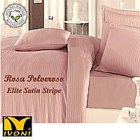 "Простынь на резинке 140х200 Коллекции ""Elite Satin Stripe 8х8 mm Rosa Polveroso"". Страйп-Сатин (Турция). Хлопок 100%."