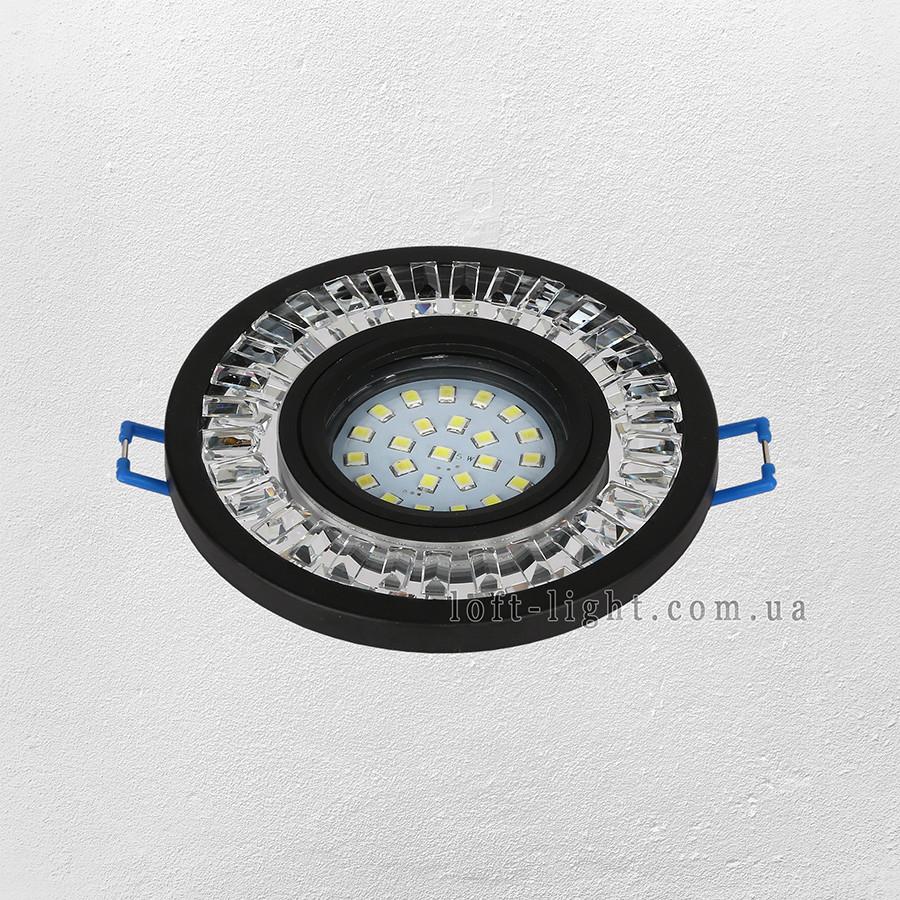 Точечный врезной светильник  модель 16-MKD-C20 BK  (LED лента в комплекте )