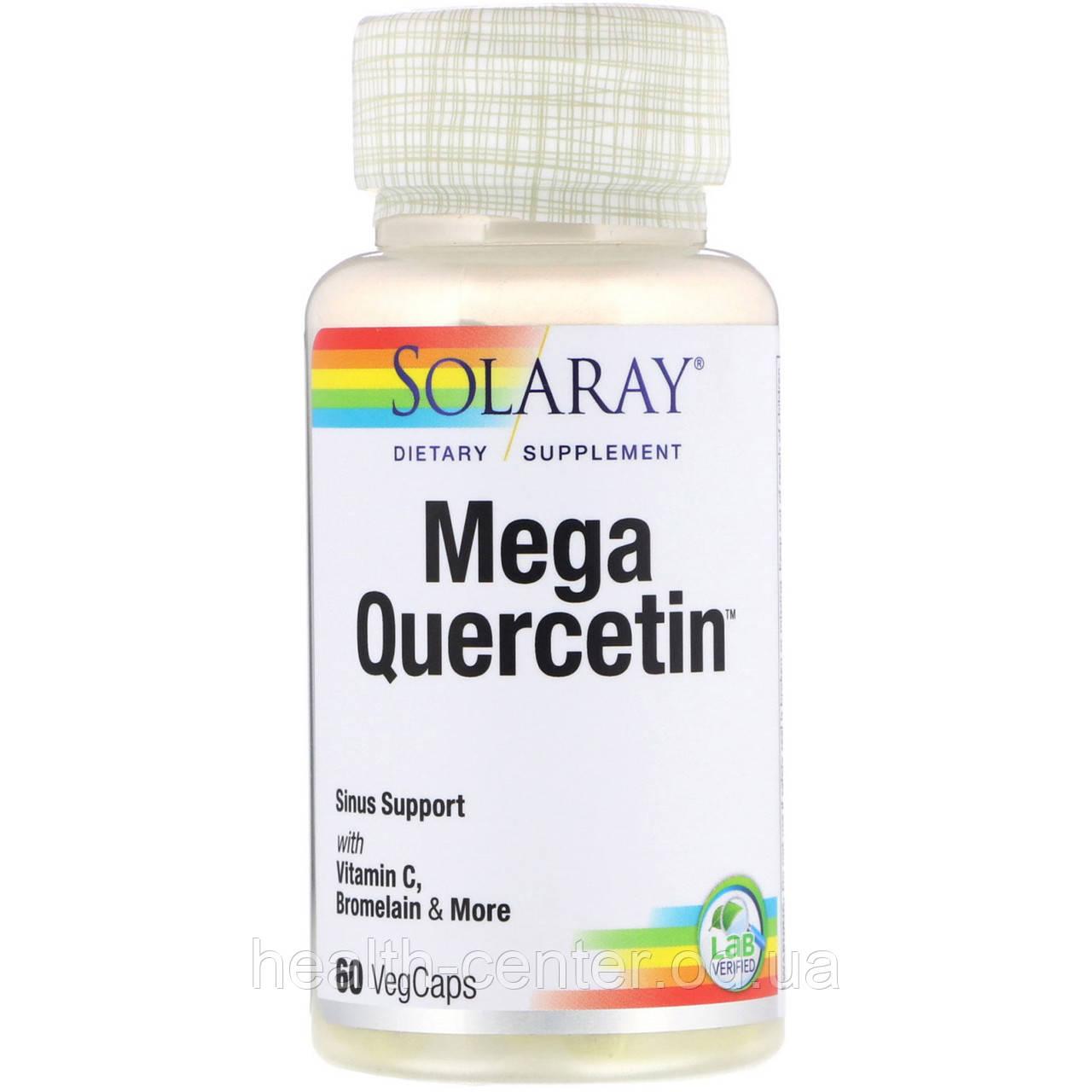 Мега Кверцетин 600 мг 60 капс для иммунитета сосудов противовоспалительное Solaray USA