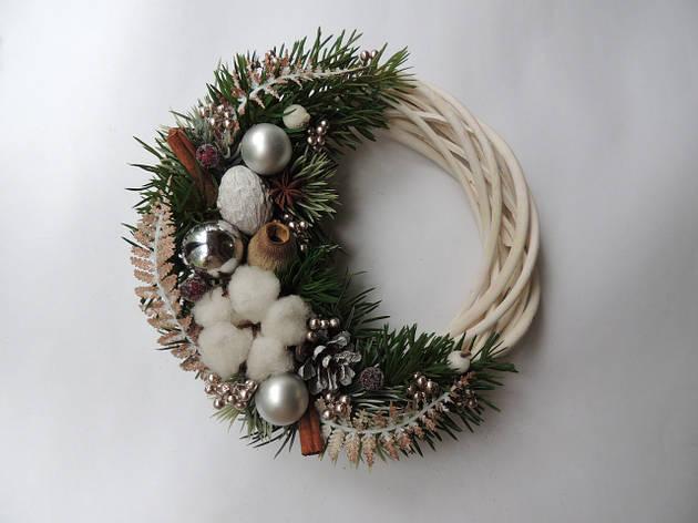 Новогодний рождественский венок с натуральным декором №2 22 см (9590032IK), фото 2
