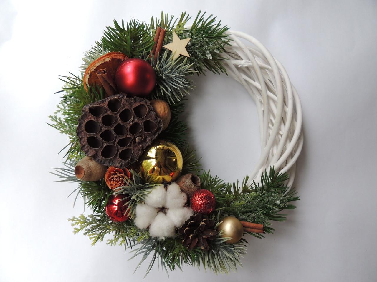 Новогодний рождественский венок с натуральным декором №3 25 см Зеленый (9590033IK)