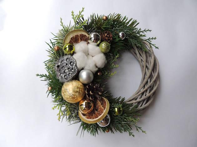 Новогодний рождественский венок с натуральным декором №6 22 см Зеленый (9590036IK), фото 2