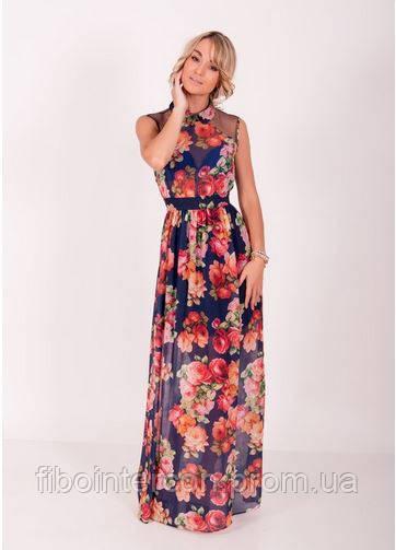 660167dcfb3 Женское длинное летнее шифоновое платье в цветы ZEAN 5410 - Интернет магазин