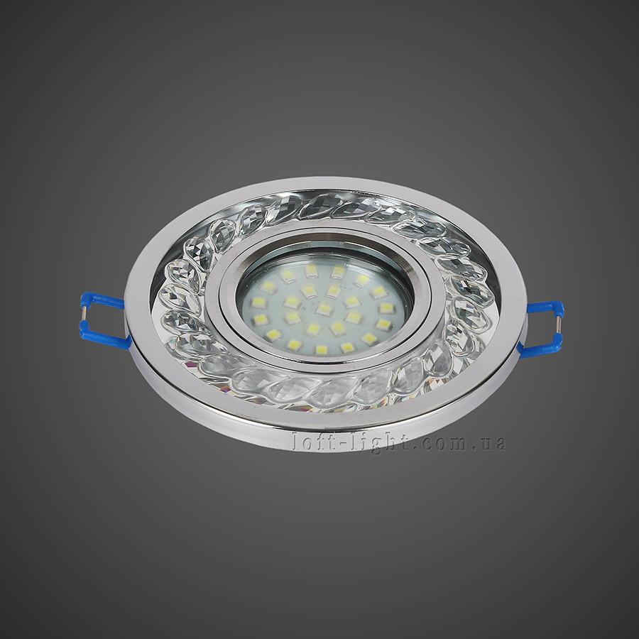 Точечный врезной светильник  16-MKD-C21 CH  (LED лента в комплекте )