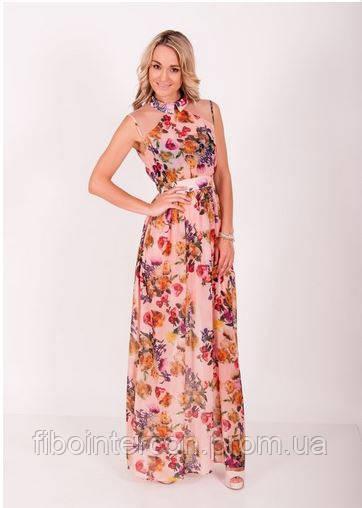 3ad46517825350c Женское длинное летнее шифоновое платье в цветы ZEAN 5410 - Интернет магазин
