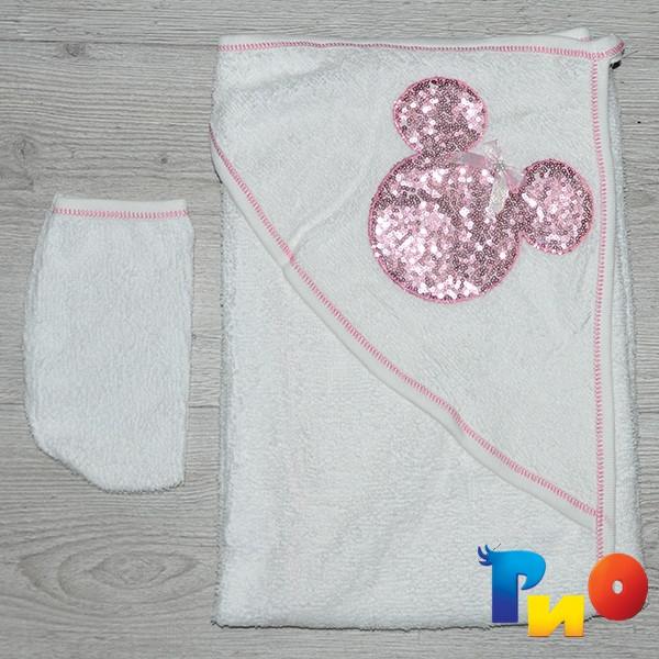 Полотенце с капюшоном для купания и варежка, махра, размер 85х80 см (мин заказ 1 ед)