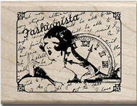 Штамп резиновый на деревянном блоке Fashionista Hampton Art PS0336