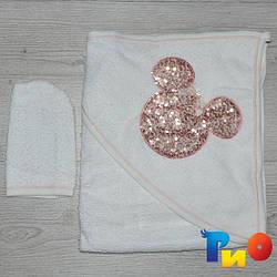 Полотенце с капюшоном для купания и варежка, махра, размер 85х80 см (мин заказ 1 ед) Бежевый