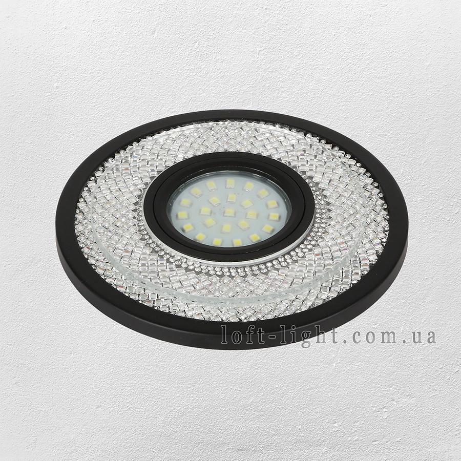 Точечный врезной светильник  модель 16-MKD-C23 BK  (LED лента в комплекте )