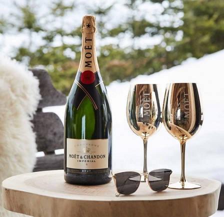 Фирменные бокалы для шампанского Moët & Chandon. фужеры Моет Шандон. Золотые moet, фото 2