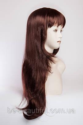 Длинный ровный парик №2,цвет каштановый с красным оттенком