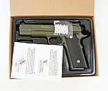 Страйкбольный пістолет Galaxy G20G (Browning HP) зелений, фото 6