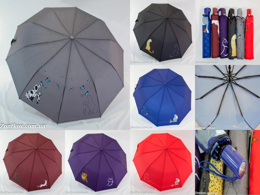 """Однотонный зонтик полуавтомат оптом с маленьким узором и куполом на 10 спиц от фирмы """"Flagman"""""""