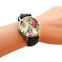 """Часы женские """"Цветы"""" - чёрные"""