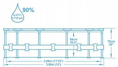 Каркасний басейн Intex 56681 (366х76 см.) з фільтр-насосом, фото 3