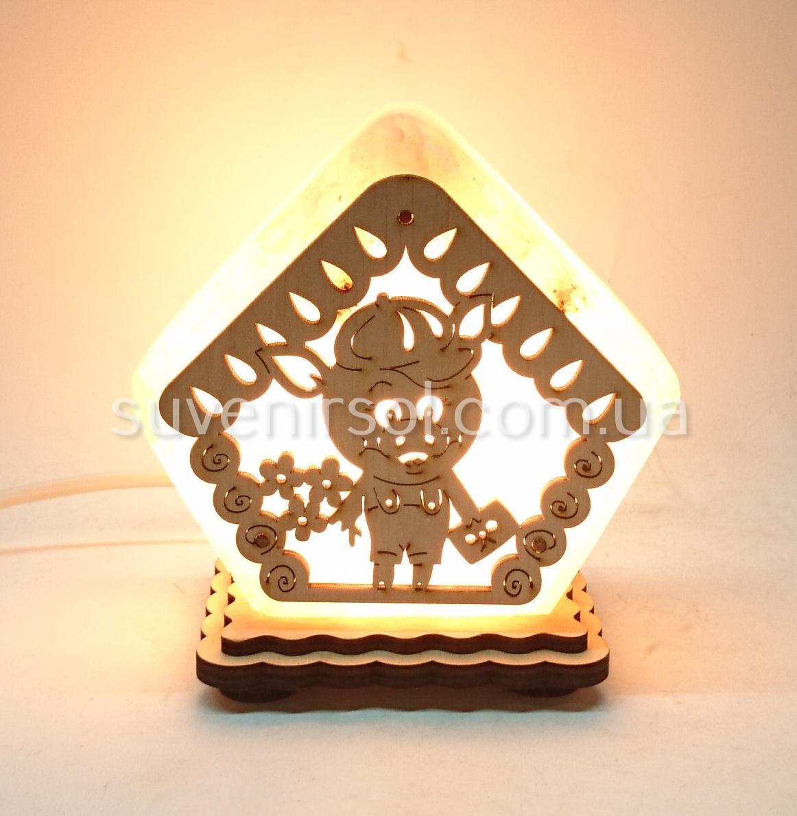 Соляной светильник Домик маленький Свинка ММ1