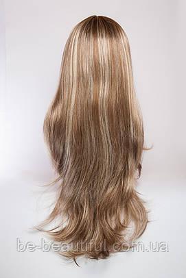 Длинный ровный парик №2,цвет мелирование русый с белым