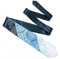 Атласный галстук с вышивкой «Синее Трио», фото 1