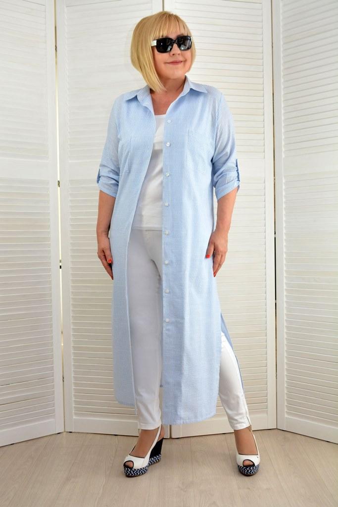 Платье-рубашка макси в полоску  - Модель 1641-2