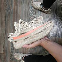 копия Adidas yeezy boost Sply 350 бежевые серые Адидас Кроссовки носки с полосой 36-41, фото 3