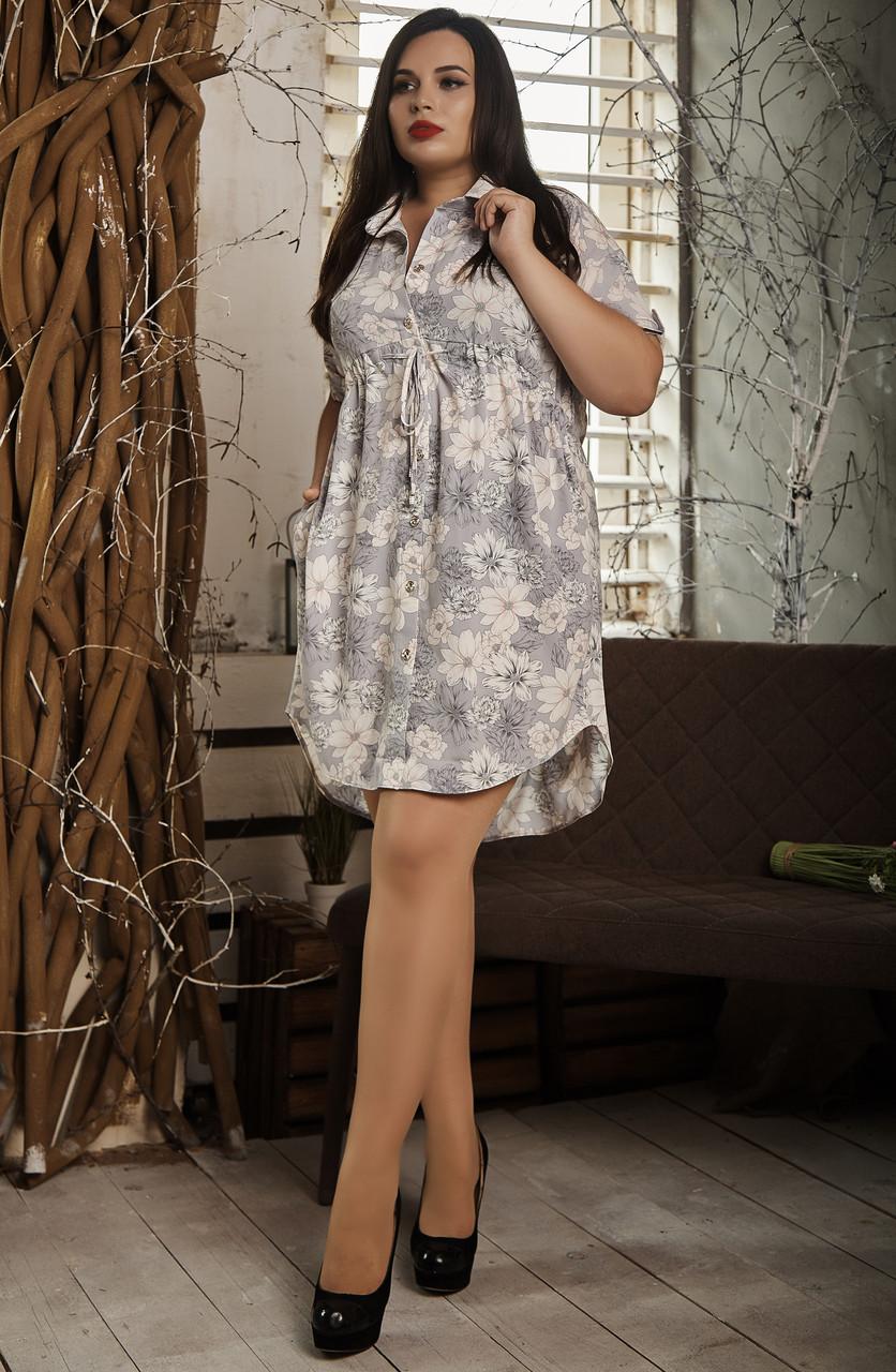 Платье мод №519-7, размер 58 серый цветок