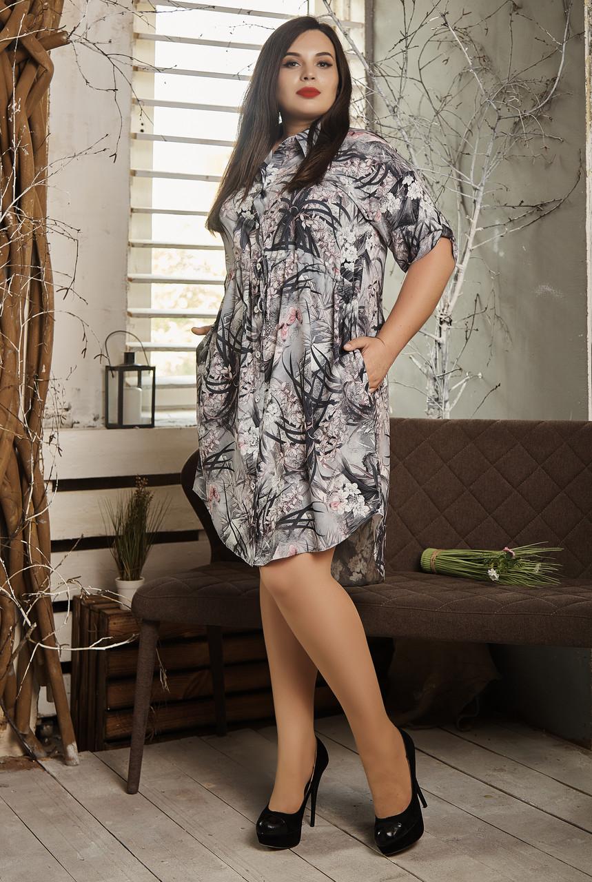Платье мод №519-6, размер 56-58 серые листики
