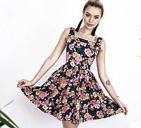 Платье женское с цветочным принтом, синее. Размеры: 42, 44, 46