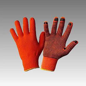 Рукавички робочі х/б помаранчева з пвх покриттям