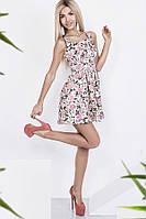 Платье женское коттоновое с цветочным принтом, белое