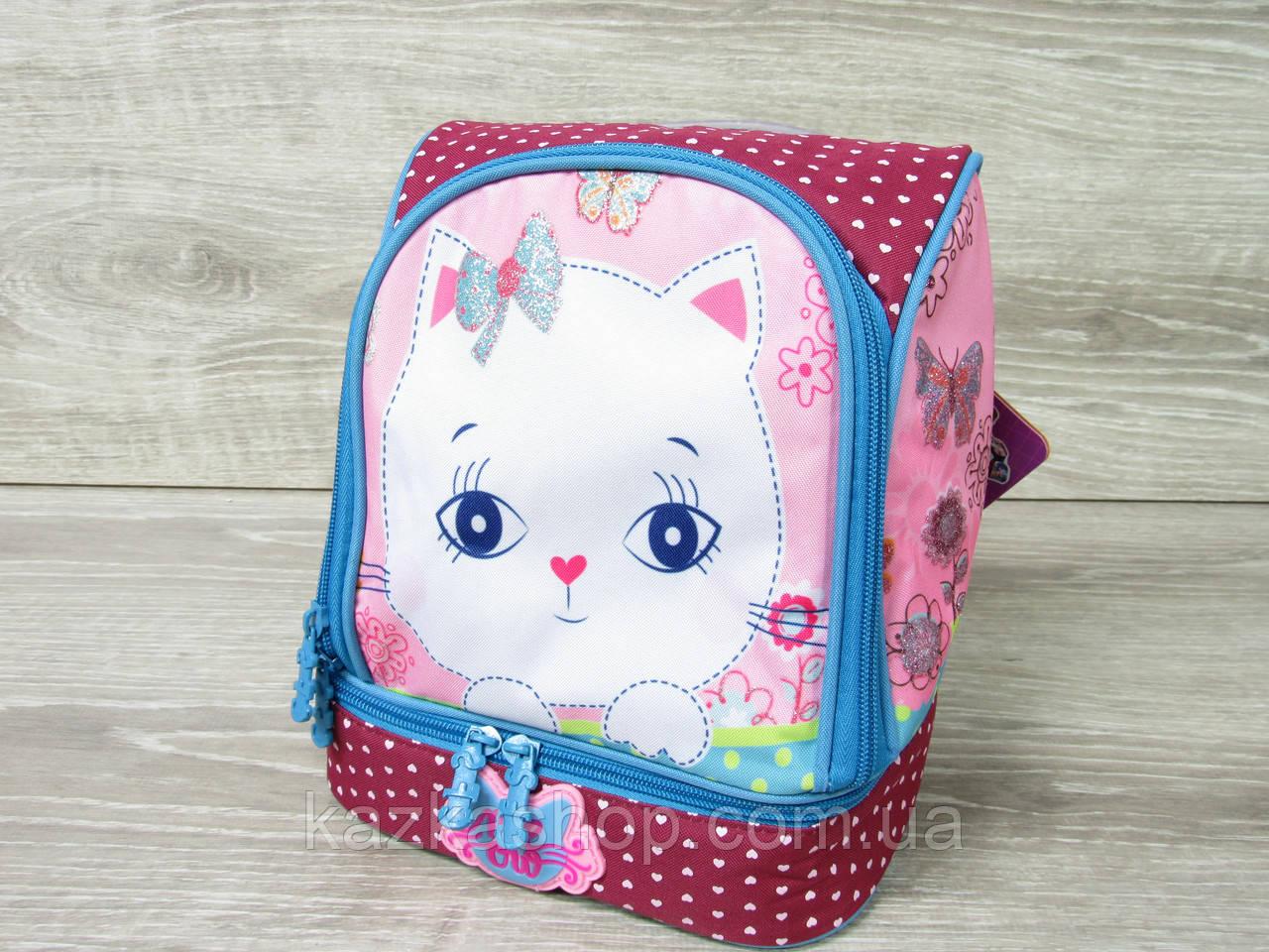 """Маленький детский рюкзак для дошколят, на два отдела, термоткань, мягкие лямки, """"Кошечка"""""""
