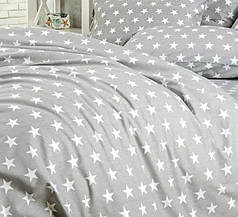 Простынь с наволочками поплин DeLux Звездный серый ТМ Moonlight 200х240+50х70 2шт