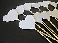 Сердечки на палочке Белые, 12 шт (цвет на выбор)