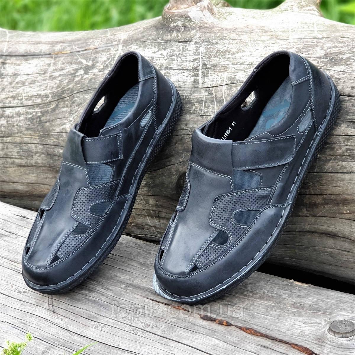 Туфли мужские летние открытые повседневные кожаные черные, сандалии (Код: 1497а)