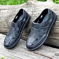 Туфли мужские летние открытые повседневные кожаные черные, сандалии (Код: 1497а), фото 1