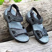 Босоножки мужские кожаные черные на липучках (Код: 1500а)