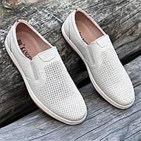 Мужские летние повседневные туфли кожаные в дырочку бежевые (Код: 1495а)