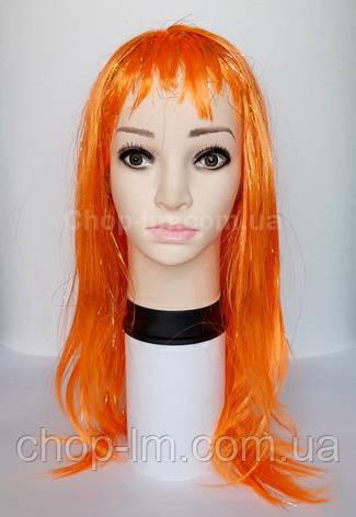 Парик оранжевый, прямой, фото 2