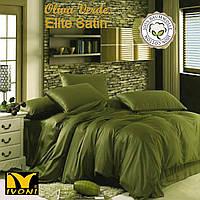 "Комплект 1-спальний Колекції ""Elite Satin Verde Oliva"". Сатин (Туреччина). Бавовна 100%."