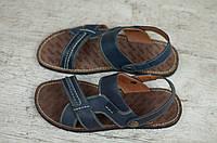 Мужские кожаные босоножки шлепанцы синие, фото 1